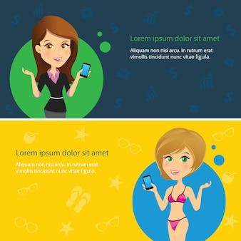 Avatar mädchen kontaktieren sie uns informationen service vektor-illustration