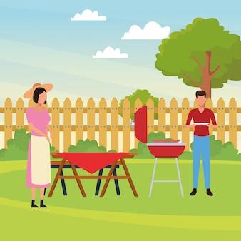 Avatar mann und frau bei einem picknick