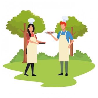Avatar mann und frau mit essen