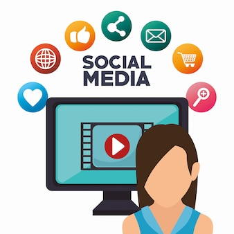 Avatar-monitor spielen social media isoliert icon design