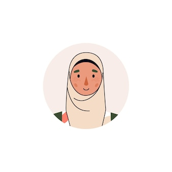 Avatar oder porträt der muslimischen arabischen geschäftsfrau oder der studentin-zeichentrickfigur im hijab