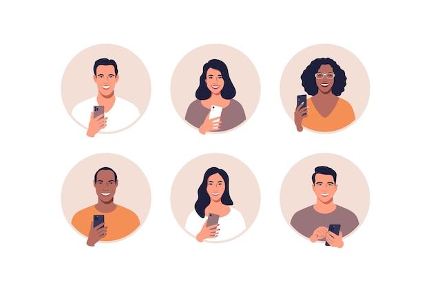 Avatar-profilbildsatz mit handy in händen