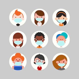 Avatar-sammlung für jugendliche und kinder. nette kinder-, jungen- und mädchengesichter tragen medizinische gesichtsmaske. flache designartkarikaturillustration.