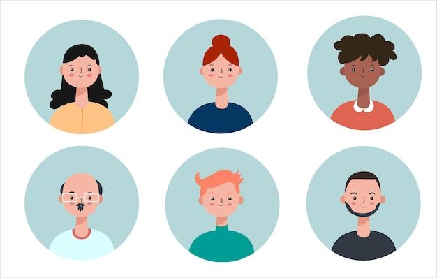 Avatar verschiedene nationalitäten und arten von menschen icons