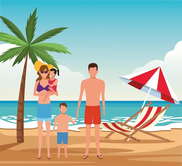 Avatarafamilie und -kinder, die badeanzüge am strand tragen