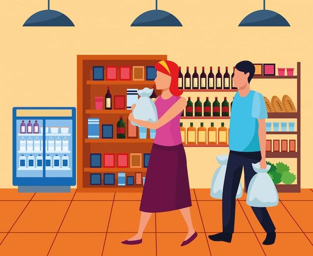 Avatarafrau und -mann mit taschen gehend am supermarktgang
