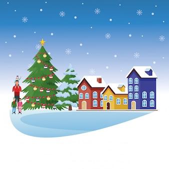 Avataramann mit kleinkindern und illustration der frohen weihnachten landschafts