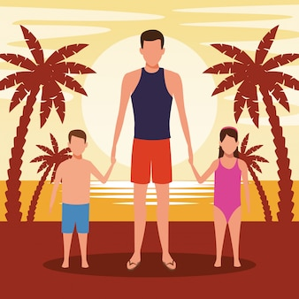Avataramann und -kinder am strand im sonnenuntergang