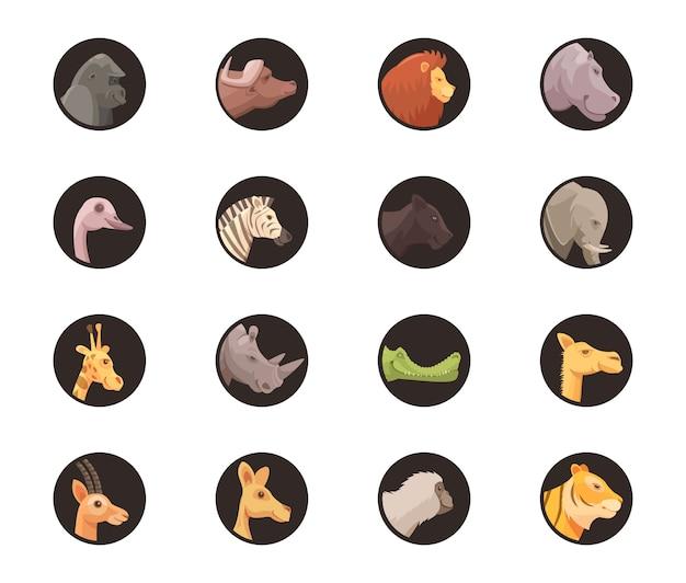 Avataratier-ikonensatz des sozialen netzes des lokalisierten kreises formte köpfe der wilden tiere in der karikaturart-vektorillustration