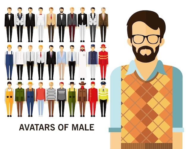 Avatare des männlichen konzepthintergrundes