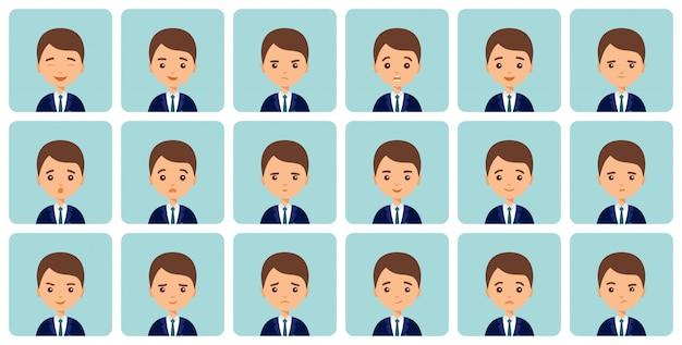 Avatare emotionen. männliches gesicht mit unterschiedlichen ausdrucksformen. mann in wohnung. zeichentrickfigur. illustration. satz lokalisierte leuteikonen.