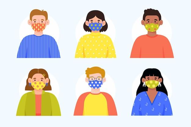 Avatare tragen gepunktete stoffgesichtsmasken