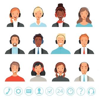 Avatare von call-center-betreibern. männliche und weibliche kundenbetreuer helfen managern mit webbildern
