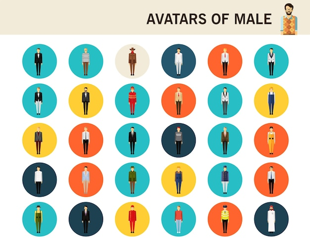 Avatare von flachen flachen ikonen des männlichen konzeptes.
