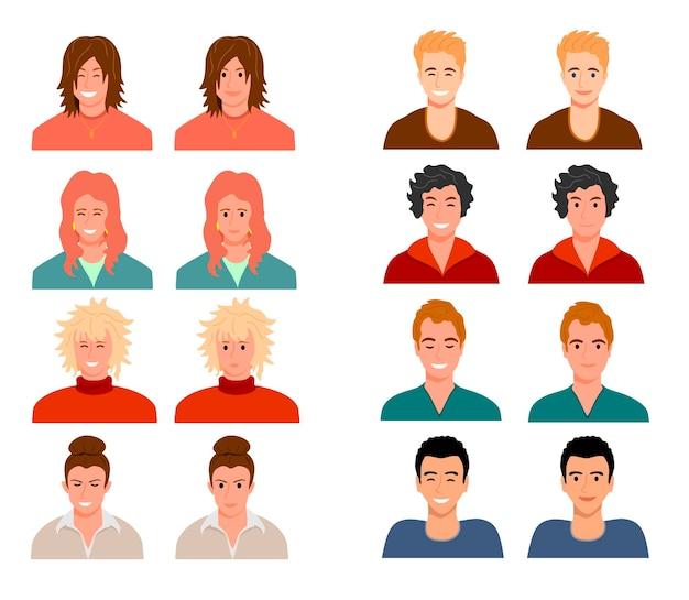 Avatare von menschen mit unterschiedlichen gesichtsausdrücken menschen sind charaktere frauen