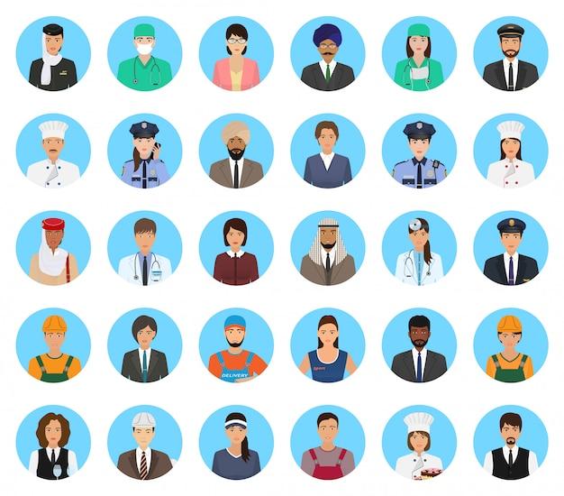 Avatare zeichen menschen unterschiedlicher besetzung festgelegt. berufpersonenikonen von gesichtern auf einem blau.