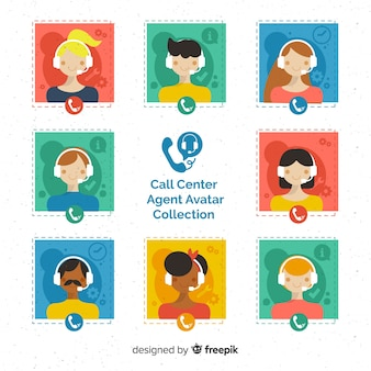 Avatarsammlung des call-center-agenten mit flachem design