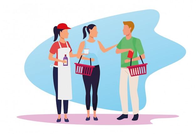 Avatarsupermarktarbeitskraft, die proben kunden gibt