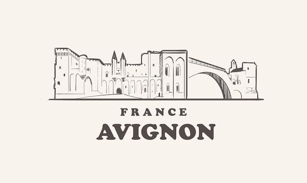 Avignon stadtbild schöne illustration