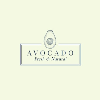 Avocado abstrakte zeichen-, symbol- oder logo-vorlage. hand gezeichnete exotische frucht-sillhouette-skizze mit eleganter retro-typografie und rahmen. vintage luxus emblem.
