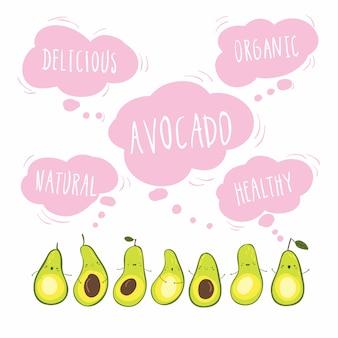 Avocado-banner-grußkarte im hand gezeichneten stil. lustige illustration mit niedlichen zeichentrickfiguren. wörter in der wolke: natürlich, organisch, köstlich, gesund
