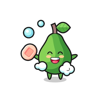Avocado-charakter badet, während er seife hält, süßes design für t-shirt, aufkleber, logo-element