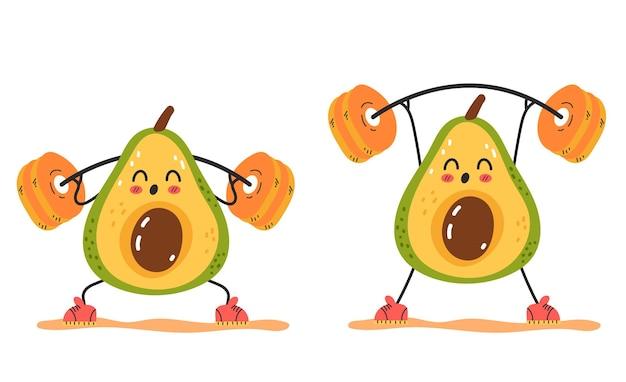 Avocado-charakter, der übung squat gym isoliertes set macht