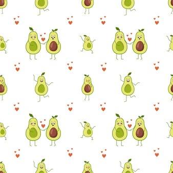 Avocado-charaktere mit nahtlosem muster mit glücklichen und liebesgefühlen