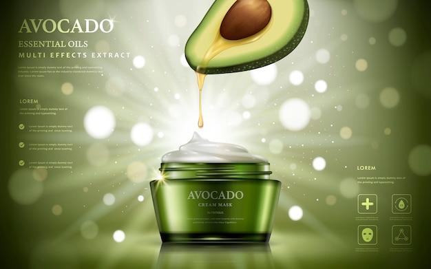 Avocado-creme-anzeigen, öl tropfte von der fruchtanatomie zu einer isolierten illustration des cremebehälters