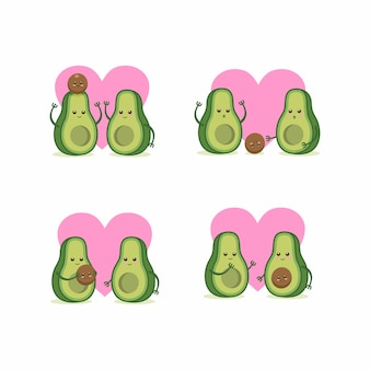 Avocado family set illustration