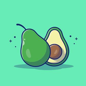 Avocado-frucht-illustration. avocado und avocado-scheiben.