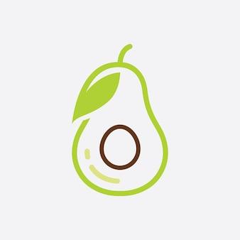 Avocado-frucht-logo-vorlage, symbole für gesunde lebensmittel