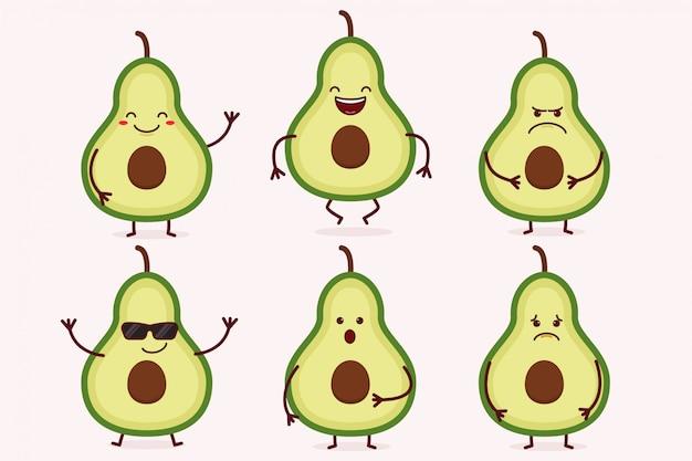 Avocado-frucht-zeichensatz
