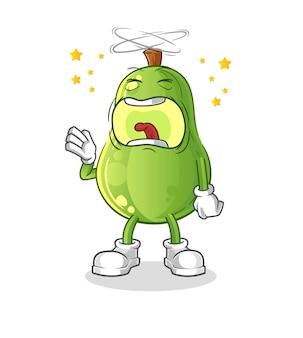 Avocado gähnt charakter. cartoon maskottchen vektor