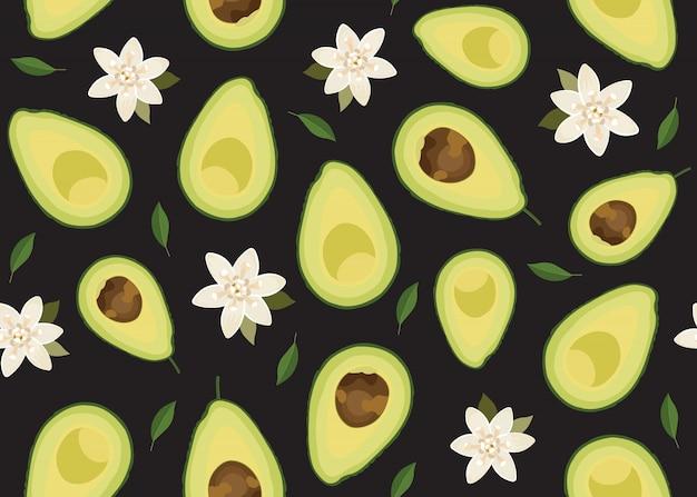 Avocado geschnittenes nahtloses muster mit blume