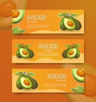Avocado gesunde früchte für schablonenbanner