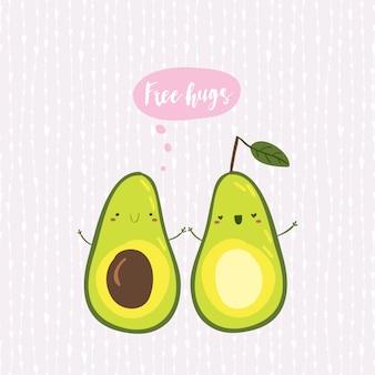 Avocado-grußkarte, fahne im handgezeichneten stil. lustige illustration mit niedlichen zeichentrickfiguren. wörter in der wolke: natürlich, organisch, köstlich, gesund