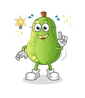 Avocado hat eine idee cartoon. maskottchenvektor