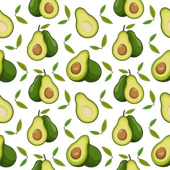 Avocado-karikaturhintergrund, nahtloses muster der avocado-frucht