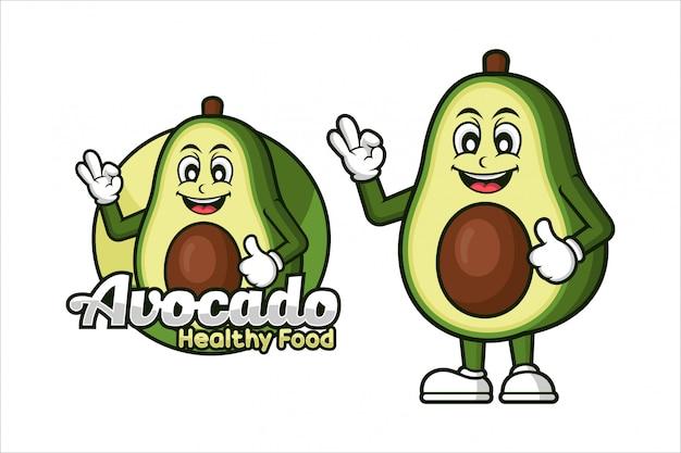 Avocado maskottchen für gesundes lebensmitteldesign