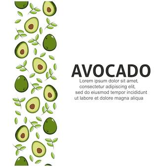 Avocado mit blättern im flachen design