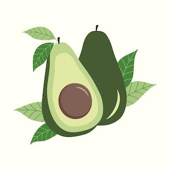 Avocado mit blattillustration