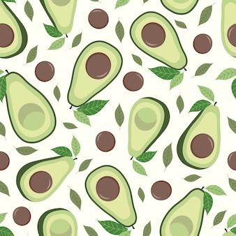 Avocado nahtloses muster mit blättern. weißer hintergrund