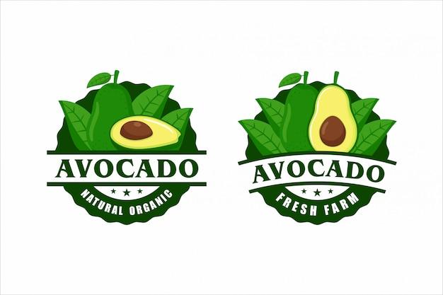 Avocado naturprodukt label design kollektion