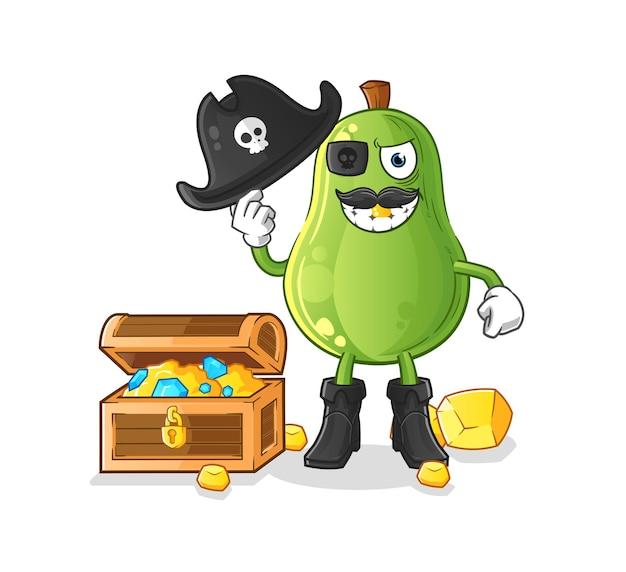 Avocado-pirat mit schatzmaskottchen. cartoon-vektor