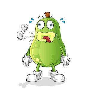 Avocado-rülpsen-maskottchen. cartoon-vektor