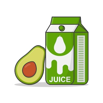 Avocado-saft-box mit avocado-symbol-illustration