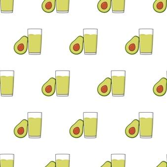 Avocado-saft-nahtloses muster auf einem weißen hintergrund. avocado-thema-vektor-illustration