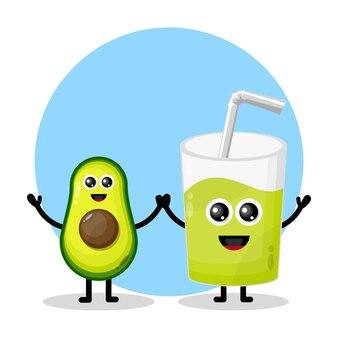 Avocado-saftglas süßes charakterlogo