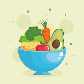 Avocado-salat-karottenkäse und apfel in der schüssel